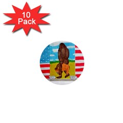 big foot,bison u,s,a, flag 1  Mini Button (10 pack)