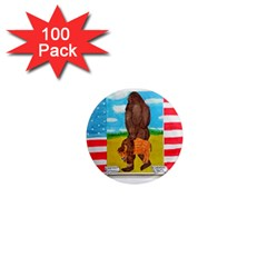 big foot,bison u,s,a, flag 1  Mini Button Magnet (100 pack)