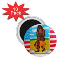 big foot,bison u,s,a, flag 1.75  Button Magnet (10 pack)
