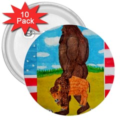 Big Foot,bison U,s,a, Flag 3  Button (10 Pack)