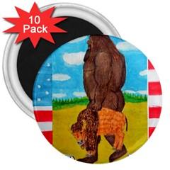 Big Foot,bison U,s,a, Flag 3  Button Magnet (10 Pack)