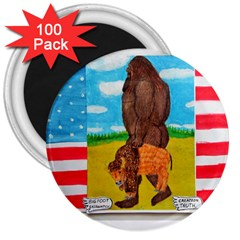 big foot,bison u,s,a, flag 3  Button Magnet (100 pack)