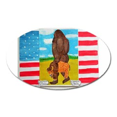 big foot,bison u,s,a, flag Magnet (Oval)