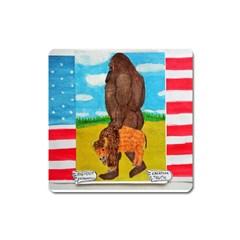 big foot,bison u,s,a, flag Magnet (Square)