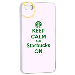 Keep Calm and Starbucks Apple iPhone 4/4s Seamless Case (White)