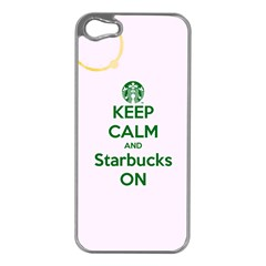 Keep Calm and Starbucks Apple iPhone 5 Case (Silver)