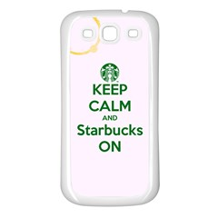 Keep Calm and Starbucks Samsung Galaxy S3 Back Case (White)
