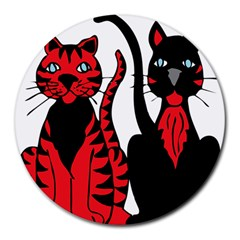 Cool Cats 8  Mouse Pad (Round)