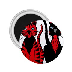 Cool Cats 2 25  Button Magnet