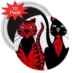 Cool Cats 3  Button Magnet (10 pack)
