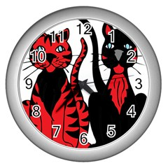 Cool Cats Wall Clock (silver)