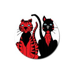 Cool Cats Magnet 3  (Round)