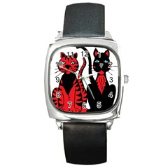 Cool Cats Square Leather Watch