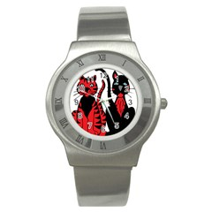 Cool Cats Stainless Steel Watch (Slim)