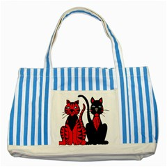 Cool Cats Blue Striped Tote Bag