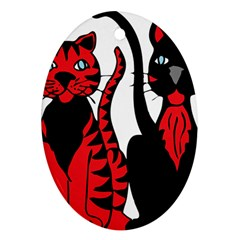 Cool Cats Oval Ornament (Two Sides)