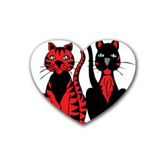 Cool Cats Drink Coasters 4 Pack (Heart)
