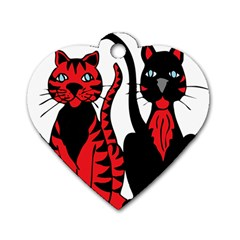Cool Cats Dog Tag Heart (Two Sided)