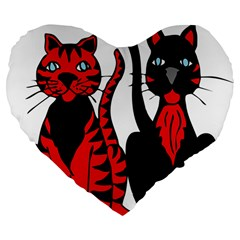 Cool Cats 19  Premium Heart Shape Cushion