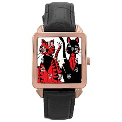 Cool Cats Rose Gold Leather Watch