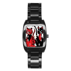 Cool Cats Stainless Steel Barrel Watch