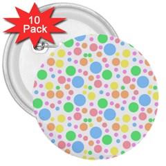 Pastel Bubbles 3  Button (10 pack)