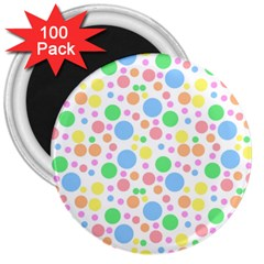Pastel Bubbles 3  Button Magnet (100 pack)