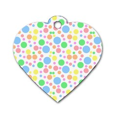 Pastel Bubbles Dog Tag Heart (One Sided)