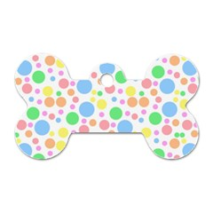 Pastel Bubbles Dog Tag Bone (Two Sided)