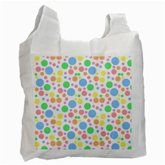 Pastel Bubbles White Reusable Bag (Two Sides)