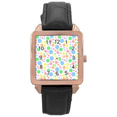Pastel Bubbles Rose Gold Leather Watch