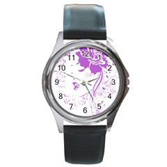 Purple Woman of Chronic Pain Round Leather Watch (Silver Rim)