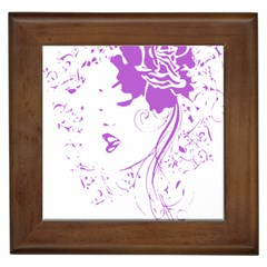 Purple Woman Of Chronic Pain Framed Ceramic Tile