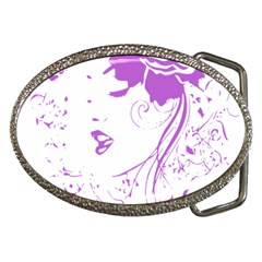 Purple Woman of Chronic Pain Belt Buckle (Oval)