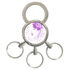 Purple Woman of Chronic Pain 3-Ring Key Chain