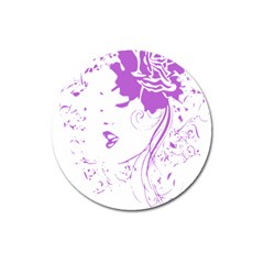 Purple Woman of Chronic Pain Magnet 3  (Round)