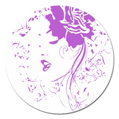 Purple Woman of Chronic Pain Magnet 5  (Round)