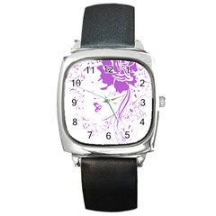 Purple Woman of Chronic Pain Square Leather Watch