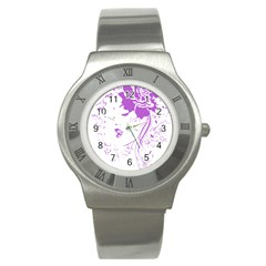 Purple Woman Of Chronic Pain Stainless Steel Watch (slim)