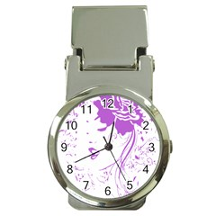 Purple Woman of Chronic Pain Money Clip with Watch