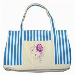 Purple Woman of Chronic Pain Blue Striped Tote Bag