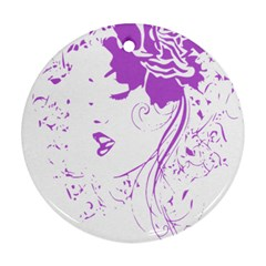 Purple Woman of Chronic Pain Round Ornament (Two Sides)