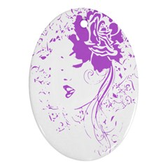 Purple Woman of Chronic Pain Oval Ornament (Two Sides)