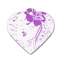 Purple Woman of Chronic Pain Dog Tag Heart (One Sided)