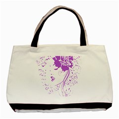 Purple Woman of Chronic Pain Twin-sided Black Tote Bag