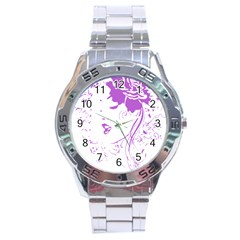 Purple Woman of Chronic Pain Stainless Steel Watch