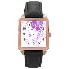 Purple Woman of Chronic Pain Rose Gold Leather Watch
