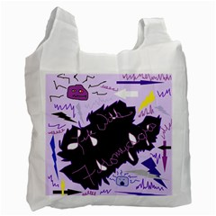 Life With Fibromyalgia White Reusable Bag (one Side)