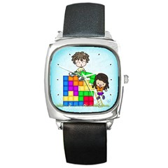With You Life Just Fits Square Leather Watch