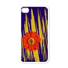 Red Flower Apple Iphone 4 Case (white)